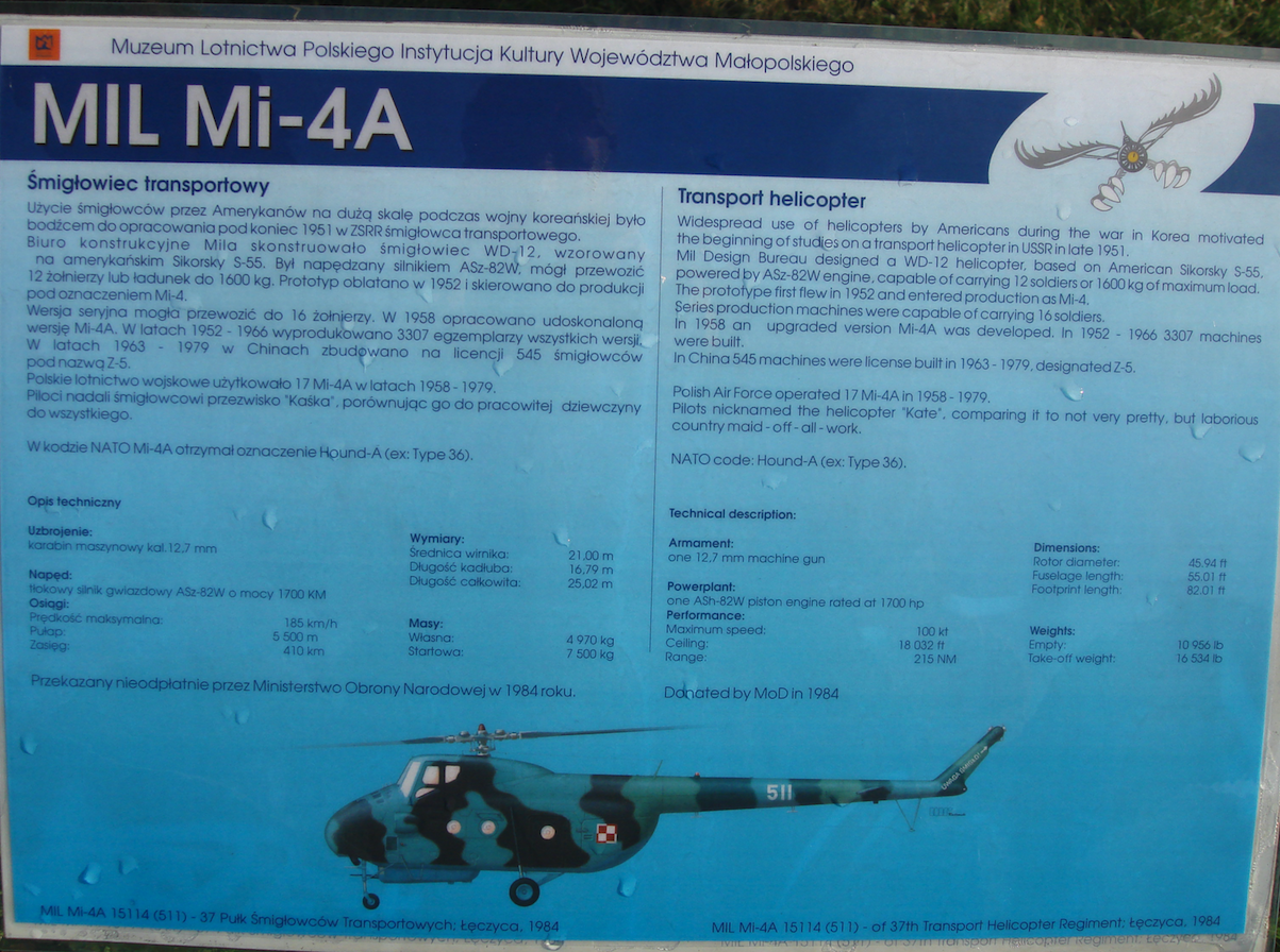 Mil Mi-4 A nb 511. 2009 rok. Zdjęcie Karol Placha Hetman