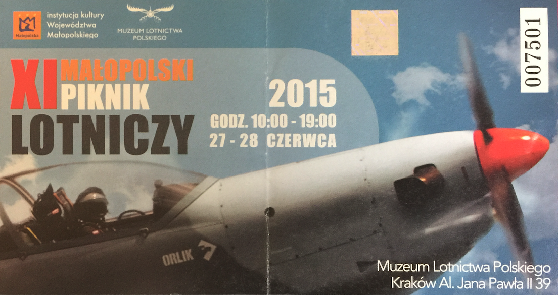 Bilet na XI Małopolski Piknik Lotniczy Czyżyny 2015 rok. Zdjęcie Karol Placha Hetman
