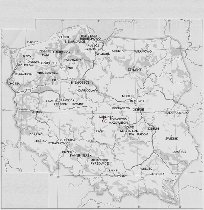 Lotnisko Aleksandrów Łódzki na Mapie Rzeczypospolitej 2013r
