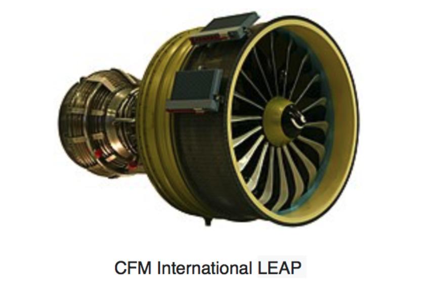 CFM engine. Fan with 18-blade carbon fiber. Photo of CFM