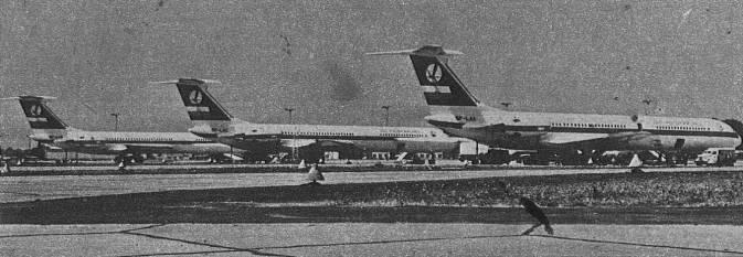 Pierwsze trzy Polskie Ił-62 na Okęciu; SP-LAA, SP-LAB, SP-LAC. 1973r.