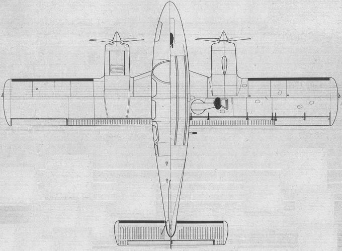 M-20 Mewa. Rysunek dołu i góry. 1980r.