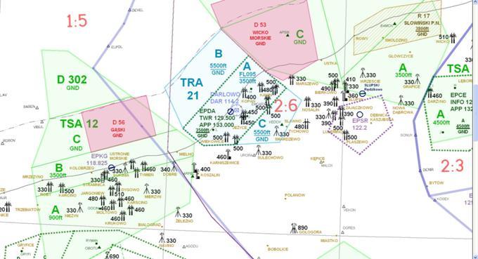 Mapa lotnicza rejonu Darłowo. 2013r. Proszę zwrócić uwagę, że w rejonie Darłowa jest dużo elektrowni wiatrowych, zwykle oświetlonych.