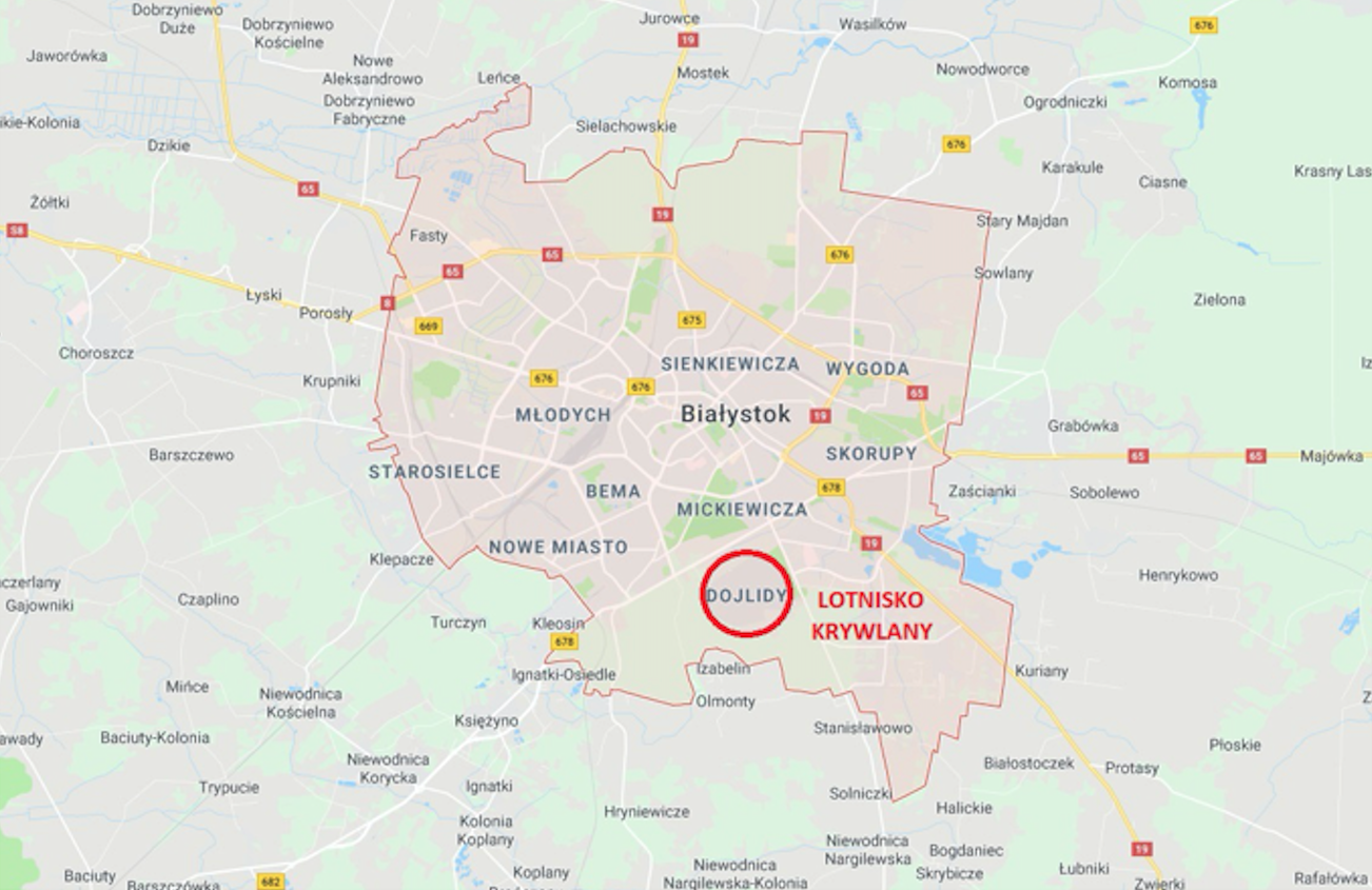 Białystok Krywlany airport on the map. 2018 year