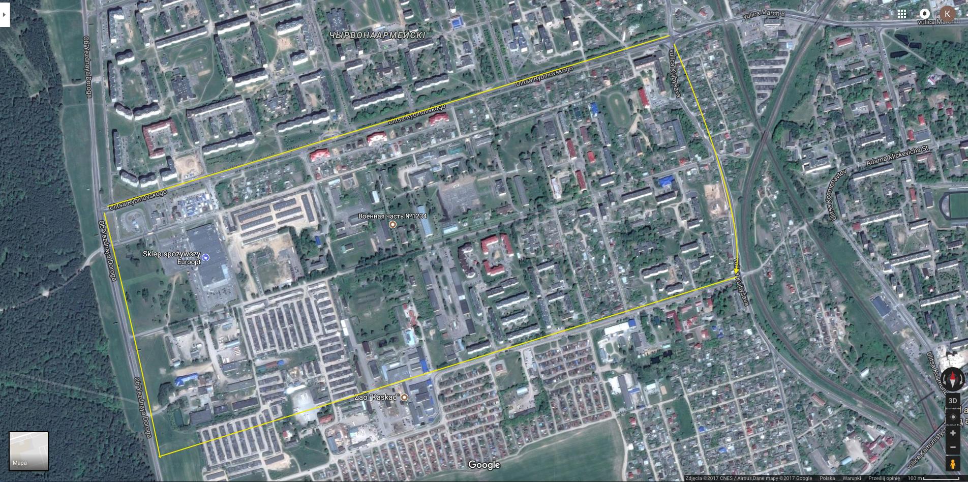 Dawny teren koszar w Lidzie. Za czasów II Rzeczypospolitej nosiły imię Marszałka Rydza Śmigłego. 2015r. Zdjęcie Google