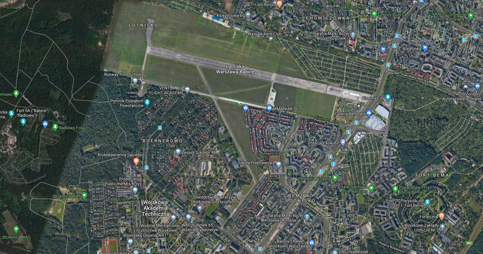 Bemowo airport, view from the satellite. 2018 year. Photo of LAC