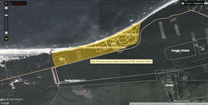 Lokalizacja byłego 44 Dywizjonu Artylerii Rakietowej. 2013r. Zdjęcie Wikimapia