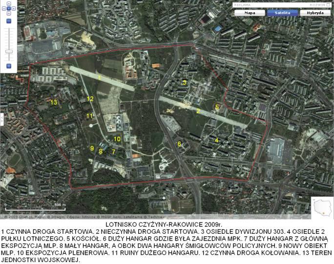 Lotnisko Czyżyny w widoku z satelity. 2009r.