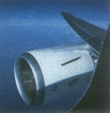 B-767-200 ER SP-LOA Gniezno w dziewiczym locie do Polski już nad Europą. 24.04.1989r.