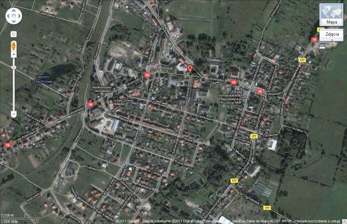Miasto Mirosławiec. Widok z satelity 2011r.
