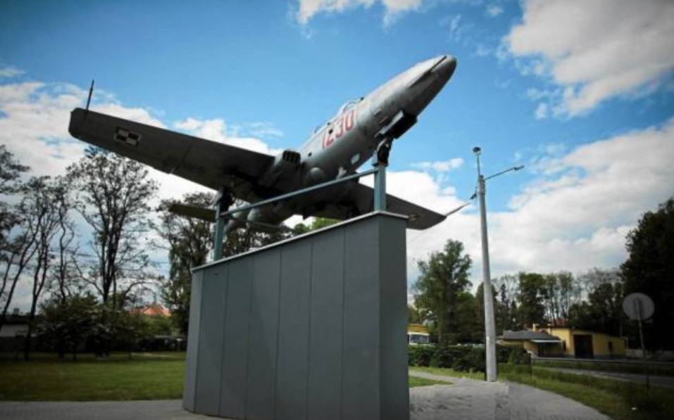 A new plane on a plinth in Łasku. TS-11 nb 1230. 2011 year. Photo of LAC