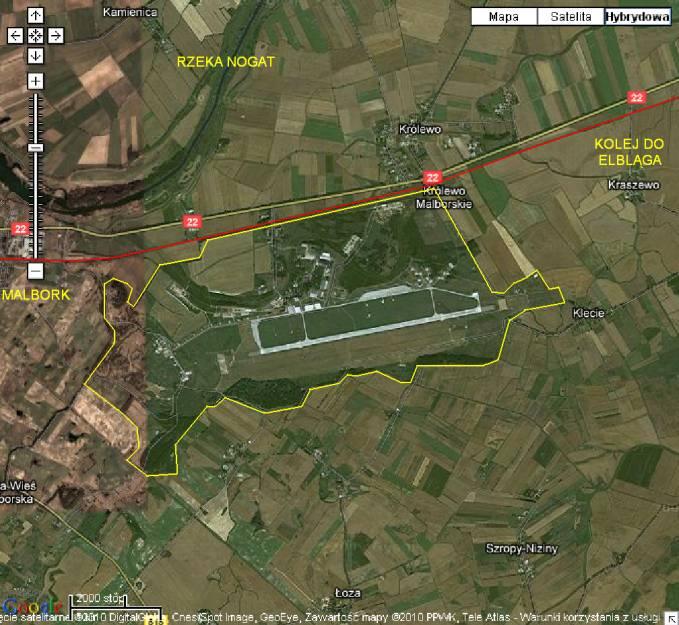 Lotnisko Malbork widok z satelity. 2010r.