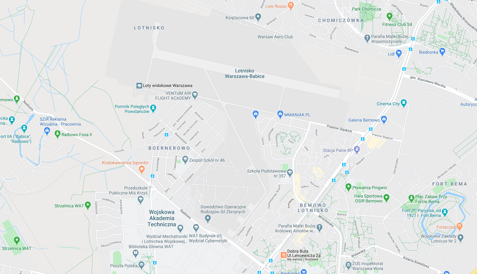 Bemowo airport on the map. 2018 year. Photo of LAC