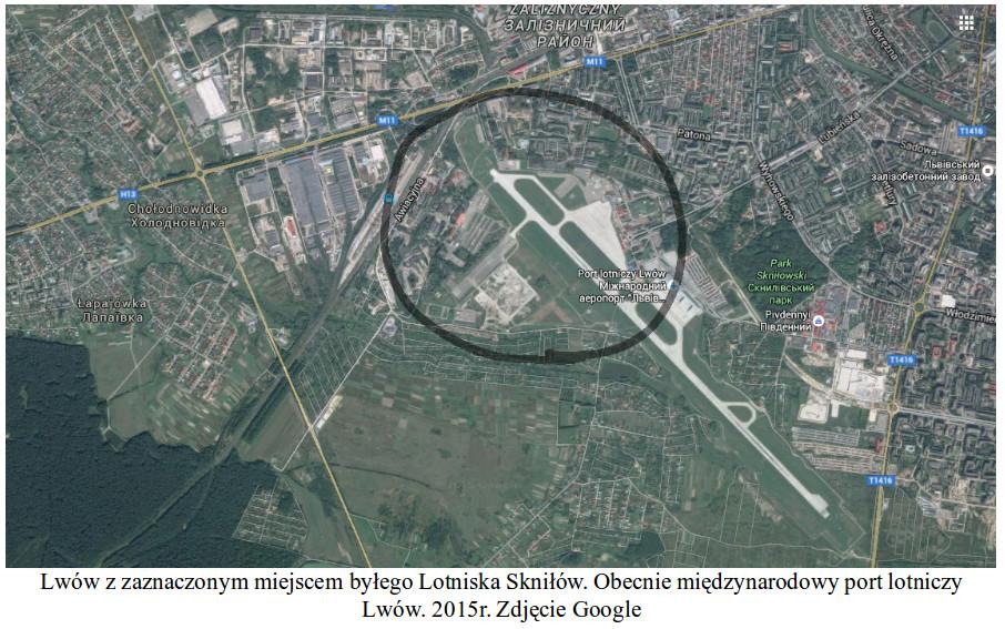 Lwów z zaznaczonym miejscem byłego lotniska Skniłów. Obecnie międzynarodowy port lotniczy Lwów. 2015 rok. Zdjęcie Google