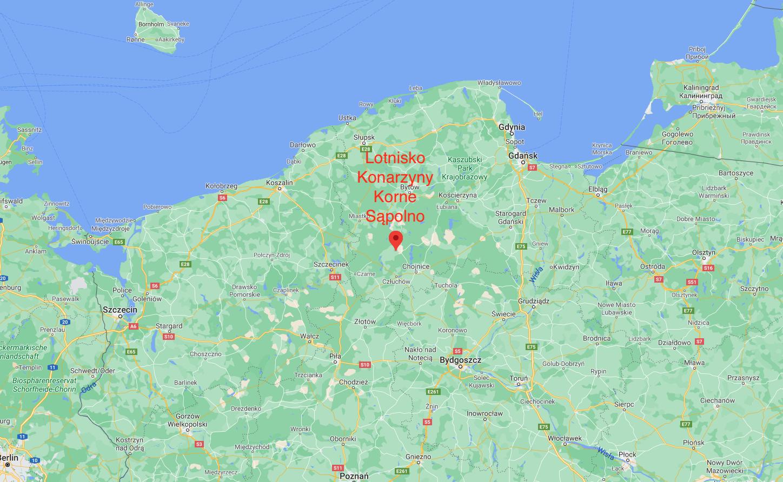 Lotnisko Konarzyny na mapie Polski