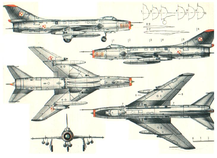 Rysunek Su-7 BKŁ nb 818. 1970 rok. Zdjęcie LAC