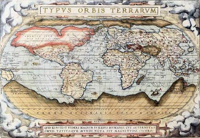 Mapa Świata Orteliusa z 1570r. Zdjęcie z Wikipedii