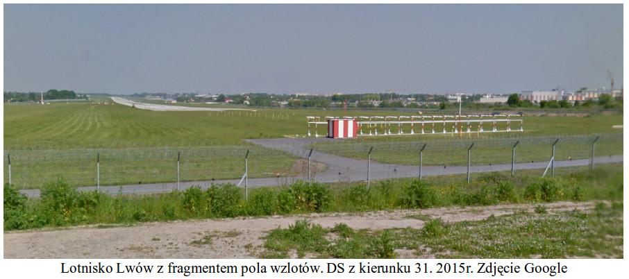 Lotnisko Lwów z fragmentem pola wzlotów. DS z kierunku 31. 2015 rok. Zdjęcie Google
