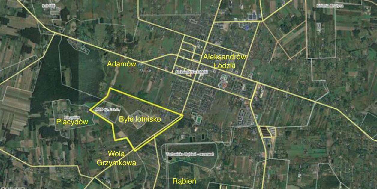 Aleksandrów Łódzki airport. 2013 year. Satellite image