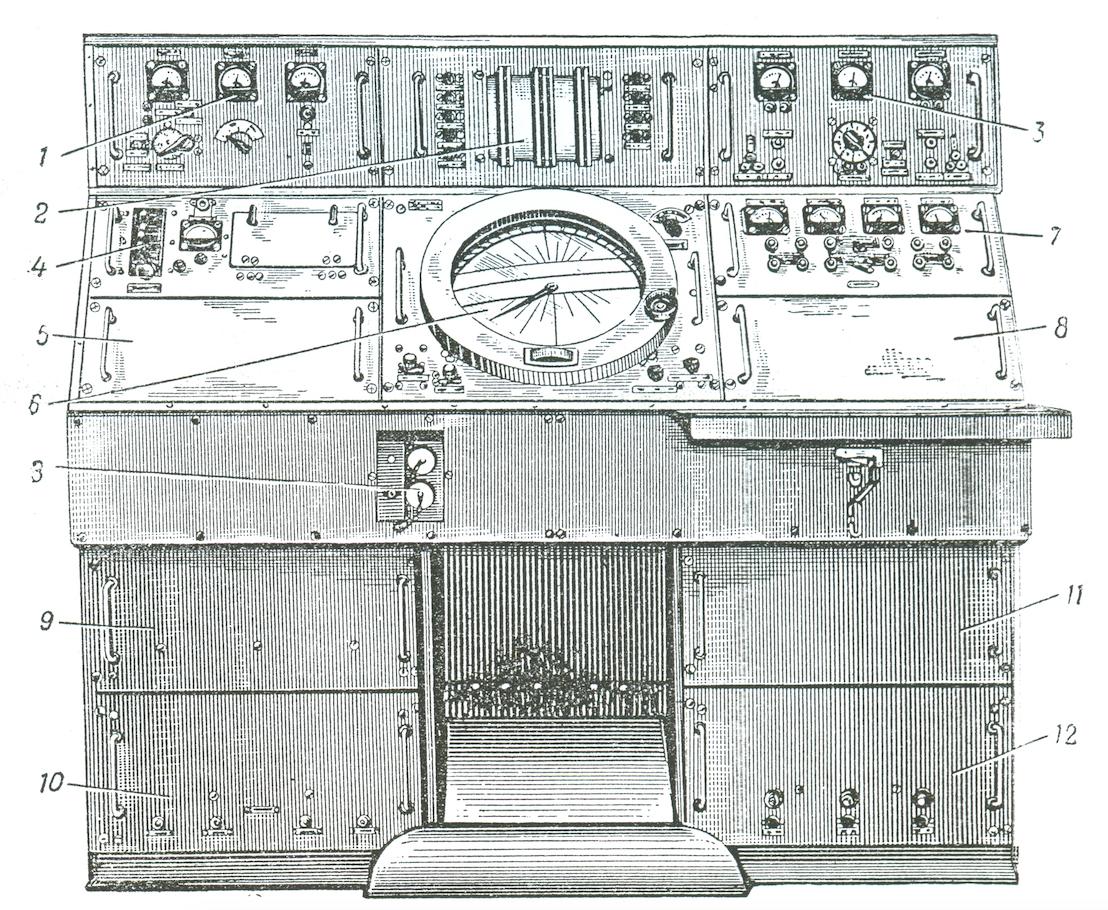 Pulpit radionamiernika ARP-5. Źródło: Awtomaticzeskie ukw radiopelengatory ARP-4, ARP-5, ARP-1. Opisanie i instrukcja po ekspluatacji