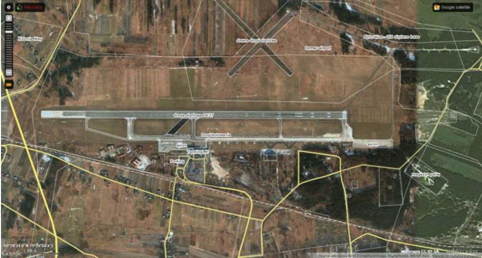 Lotnisko Mierzęcice Pyrzowice 2013 rok. Zdjęcie GoogleMaps