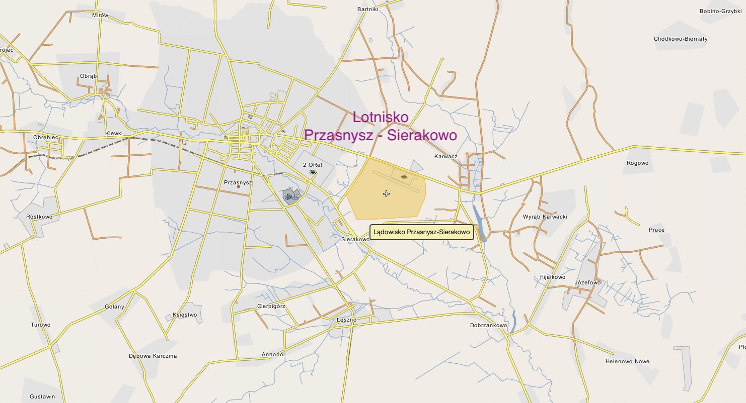 Przasnysz airport on the map of Poland. 2018 year.