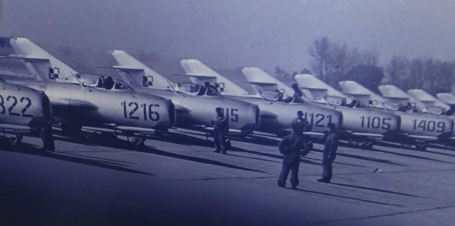 LIM-2 planes on one of Polish airports. 1960 year. Photo by Karol Placha Hetman