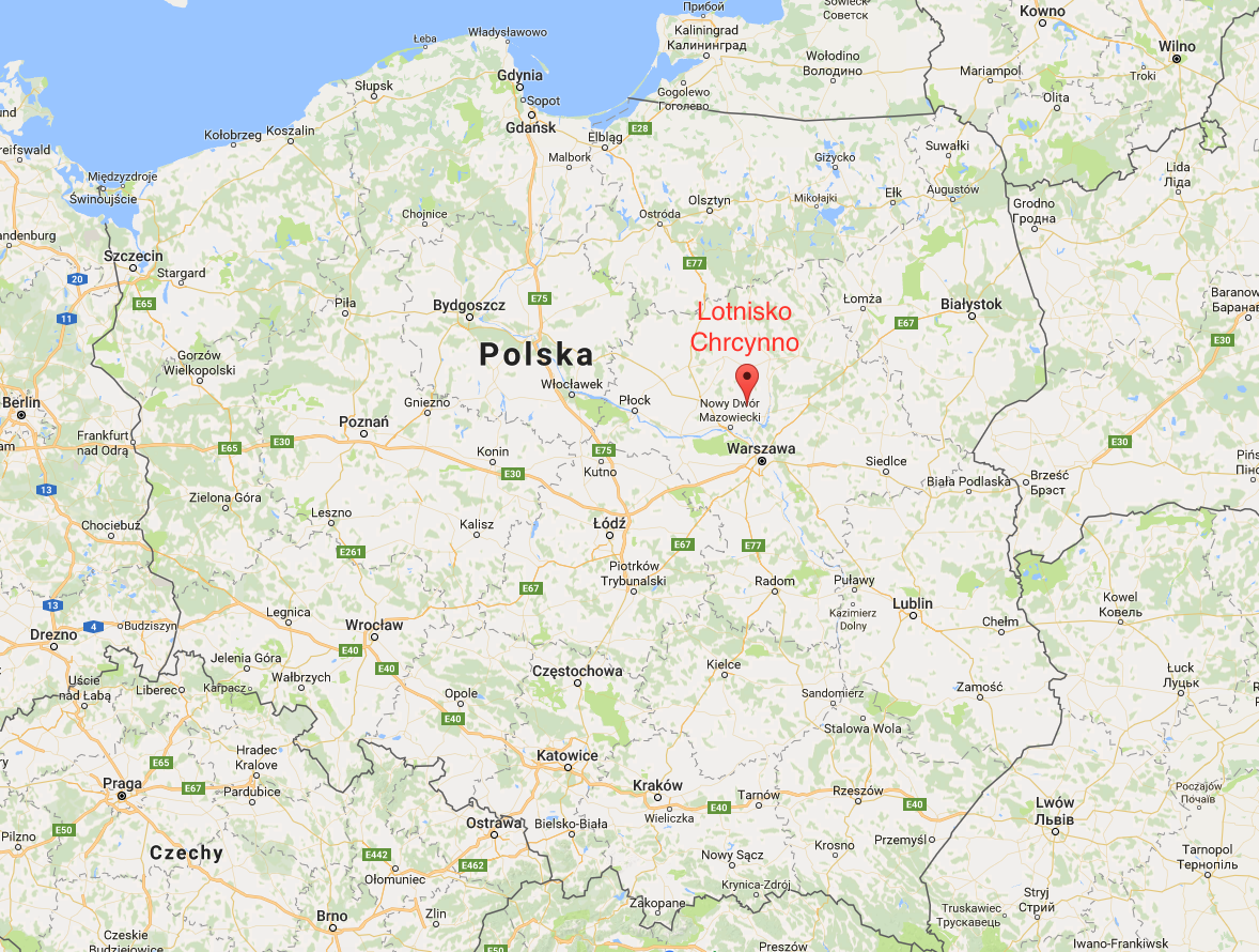 Chrcynno airport on the map of the Republic of Poland. 2017.