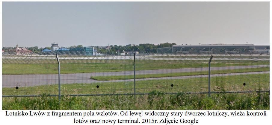 Lotnisko Lwów z fragmentem pola wzlotów. Od lewej widoczny stary dworzec lotniczy, wieża kontroli lotów oraz nowy terminal. 2015 rok. Zdjęcie Google