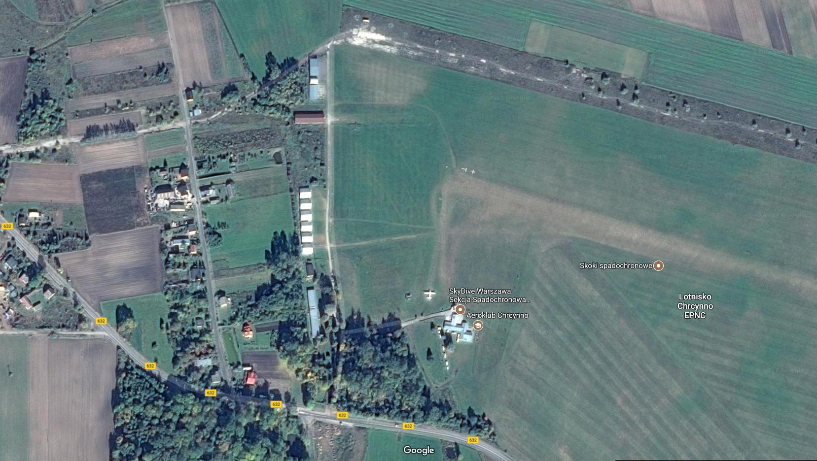 Lotnisko Chrcynno. 2017r. Zdjęcie Google
