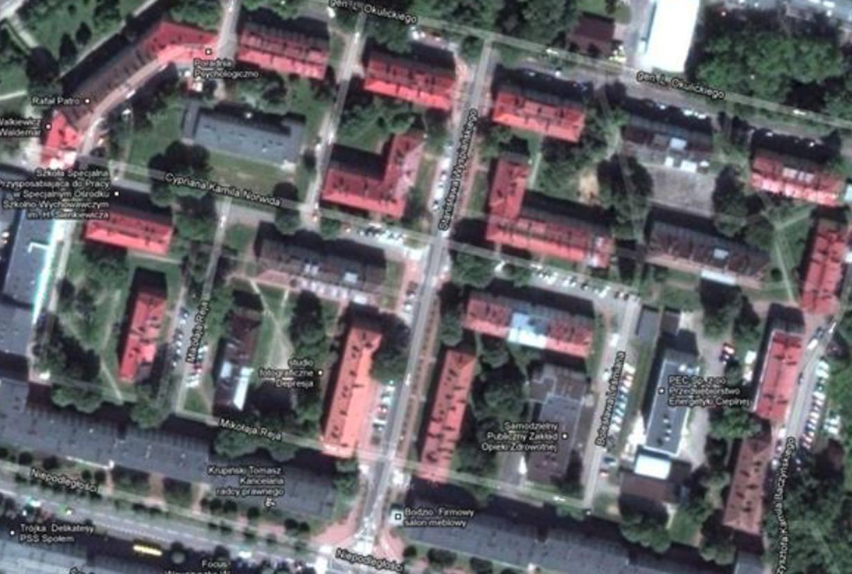 The first apartment blocks were built in 1951. Świdnik. 2012 year.
