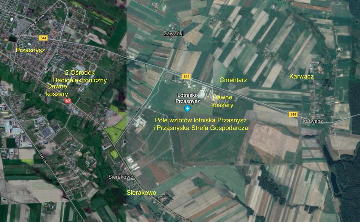 Lotnisko Przasnysz. 2018 rok. Zdjęcie satelitarne