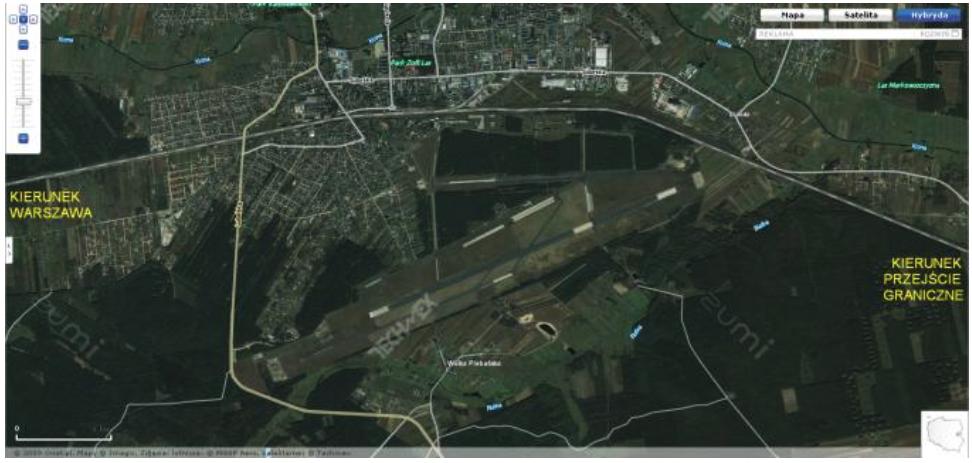 Biała Podlaska airport satellite view. 2009 year. Photo of LAC