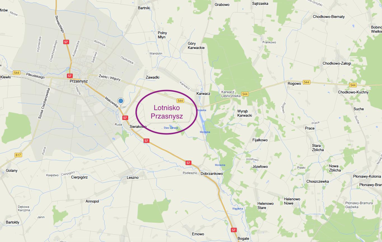 Lotnisko Przasnysz na mapie Polski. 2018 rok