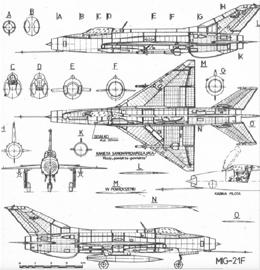 Rysunek MiG-21 F-13. Zdjęcie LAC