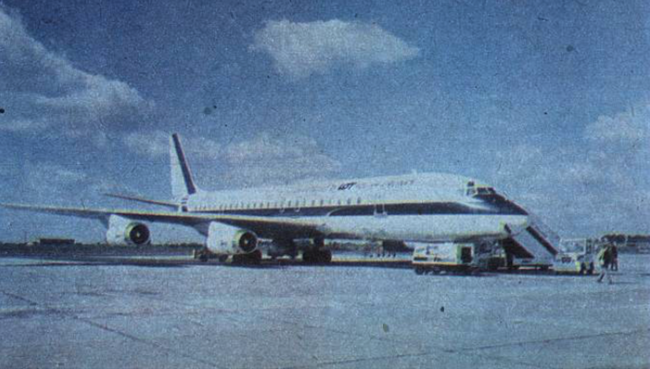 Douglas DC-8 SUPER 62 in PLL LOT colors. On the fuselage inscription - Chartered by Lot Polish Airlines. Okęcie 1987. Photo of PLL LOT