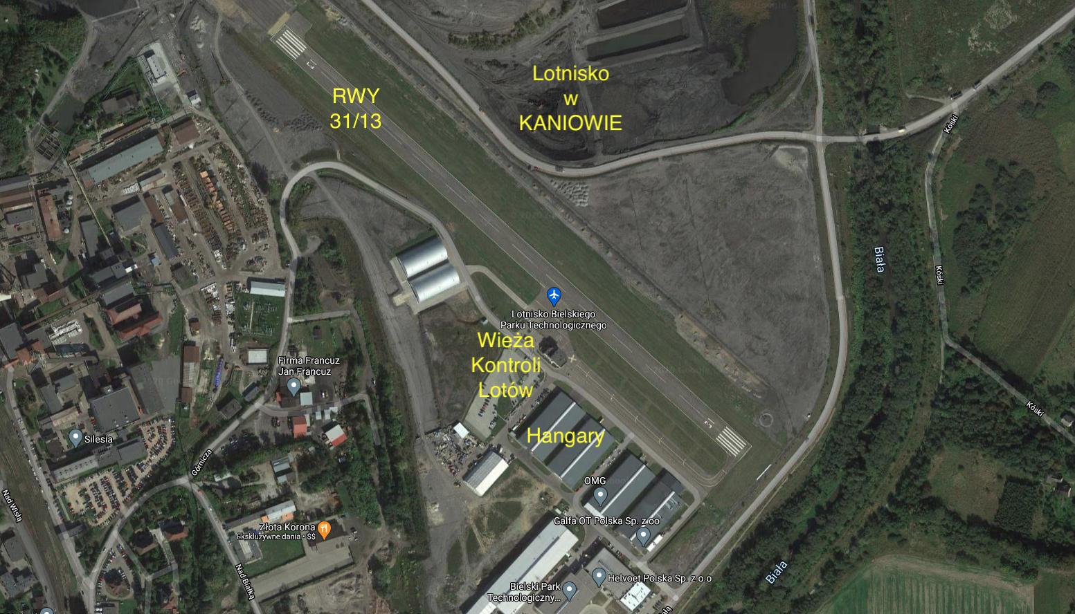 Kaniów airport. 2021 year. Satellite image