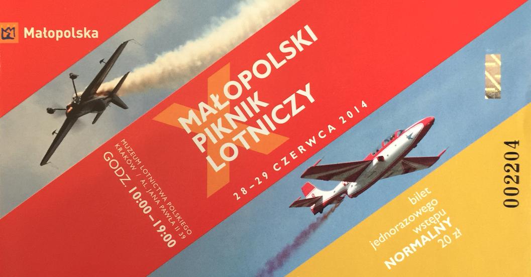 Bilet na X Małopolski Piknik Lotniczy. 2014 rok. Zdjęcie Karol Placha Hetman