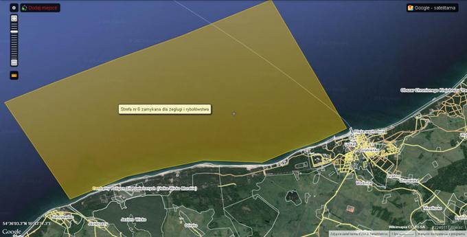 Poligon. Strefa morska; od Ustki do Jarosławia. 2013r. Zdjęcie Wikimapia