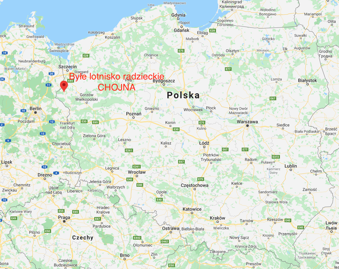 Chojna airport on the map of Poland. 2010 year. Photo of LAC