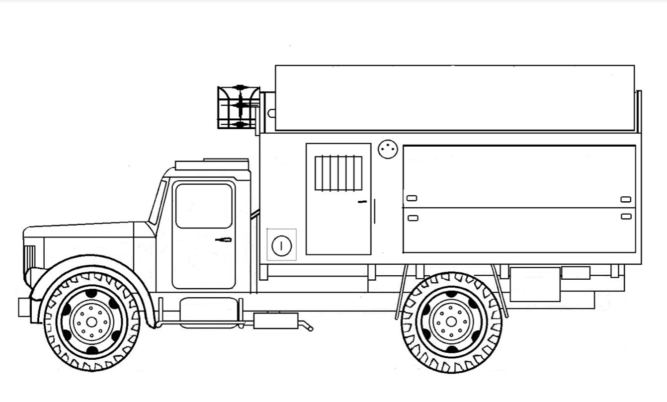 PRŁ-5M zwinięty  przygotowany do przejazdu