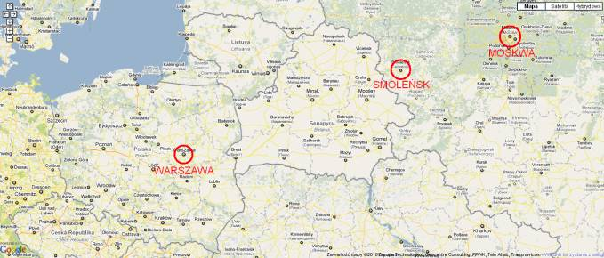 Smoleńsk na mapie.