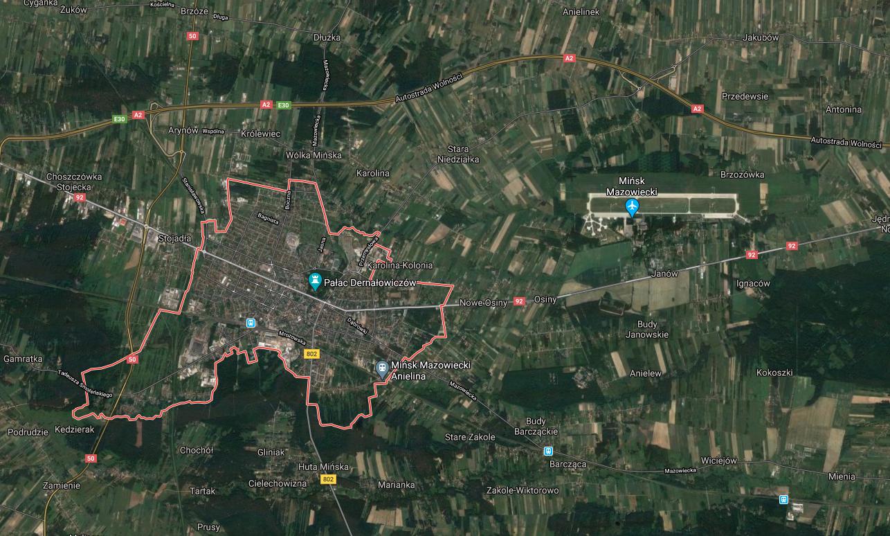Lotnisko Mińsk Mazowiecki, satelita. 2020 rok. Zdjęcie LAC