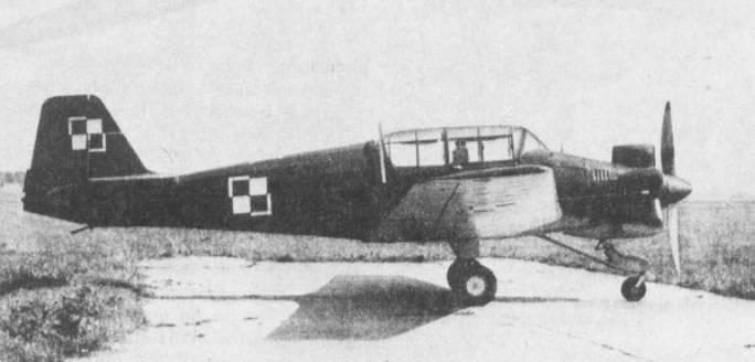 Polski dobry szkolny samolot LWD ( TS-9 ) Junak-3 Dęblin 1953r.
