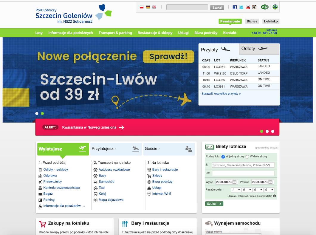 Lotnisko Goleniów, strona internetowa. 2020 rok. Zdjęcie LAC