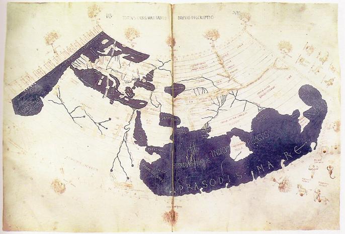 Mapa Świata Ptolemeusza z 160r. Zdjęcie z Wikipedii.