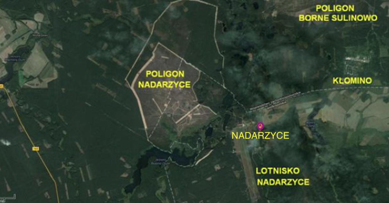 Nadarzyce airport and training ground. 2013 year. Satellite image