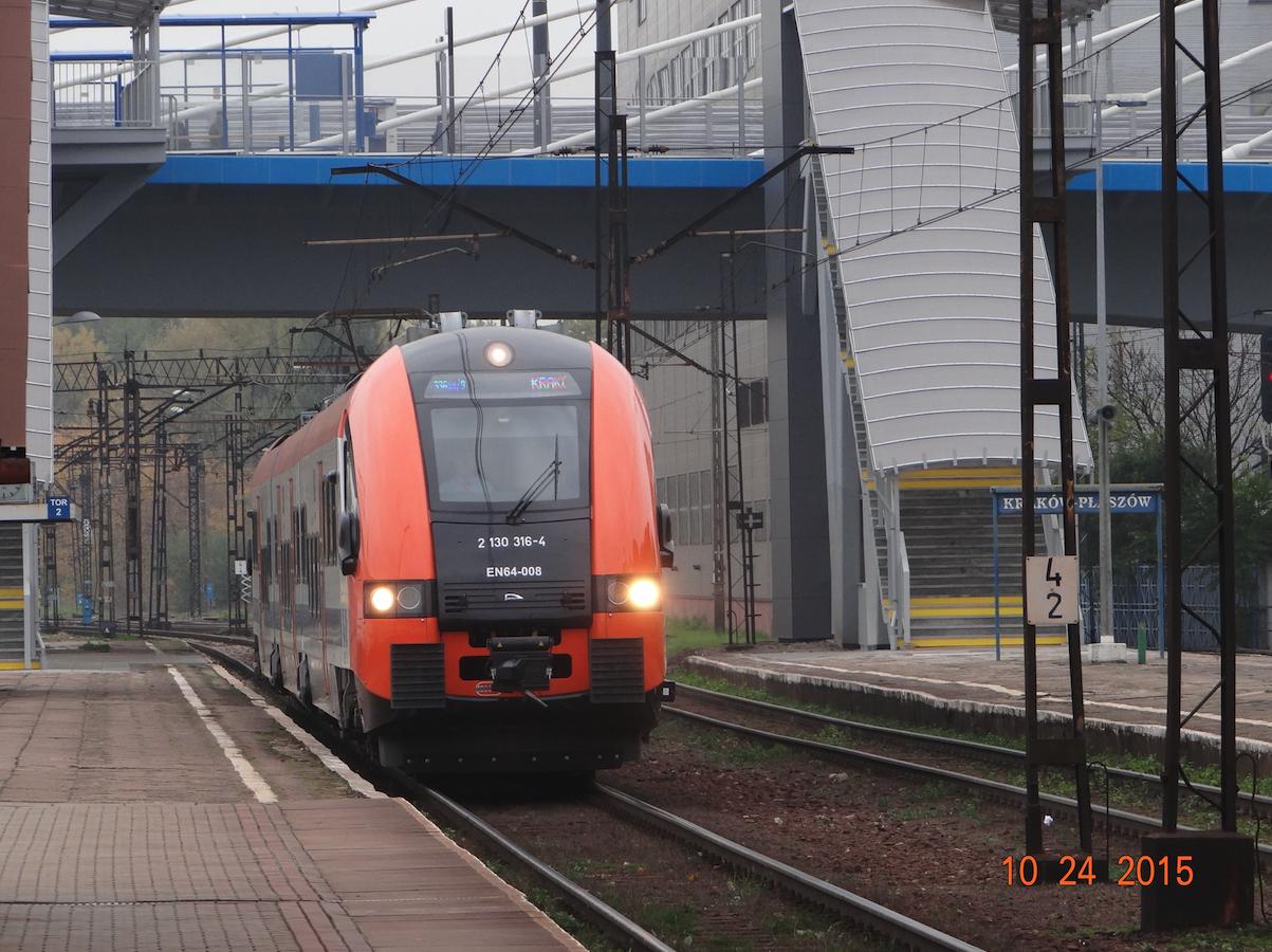Stacja Kraków Płaszów, pociąg na lotnisko. 2015 rok. Zdjęcie Karol Placha Hetman