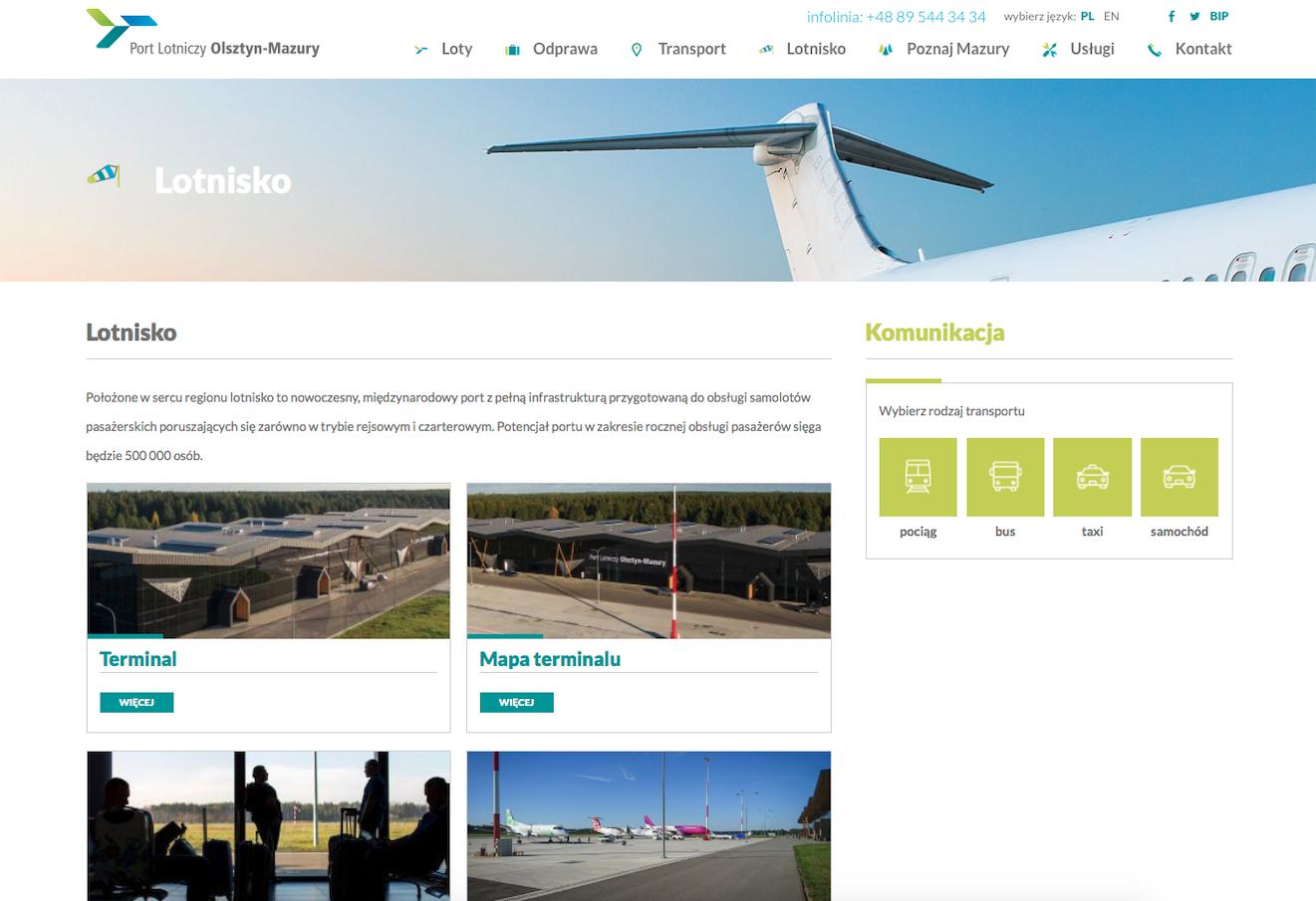 The official website of the Olsztyn Mazury Airport. 2017. Photo by Karol Placha Hetman