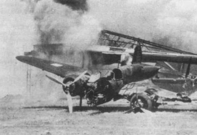 Destroyed PZL-37 Łoś aircraft at Małaszewicze Airport. 1939.
